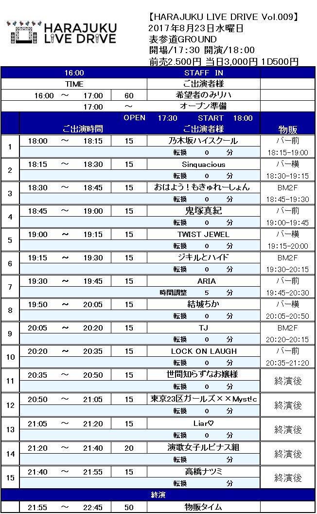 あす23日(水)表参道GROUND「リアライズ主催」タイムテーブル!乃木坂ハイスクール、おはもきゅ、TWIST JEWE