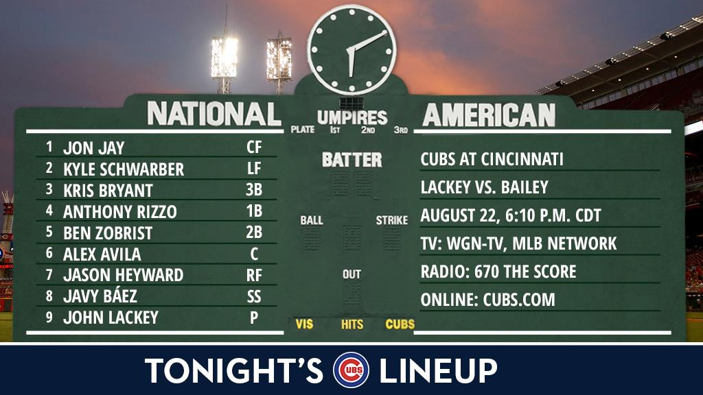 Here is tonight's #Cubs lineup as we open a six-game road trip.  Game preview: https://t.co/0ev2lFfBL2 https://t.co/bvP02LNbQr