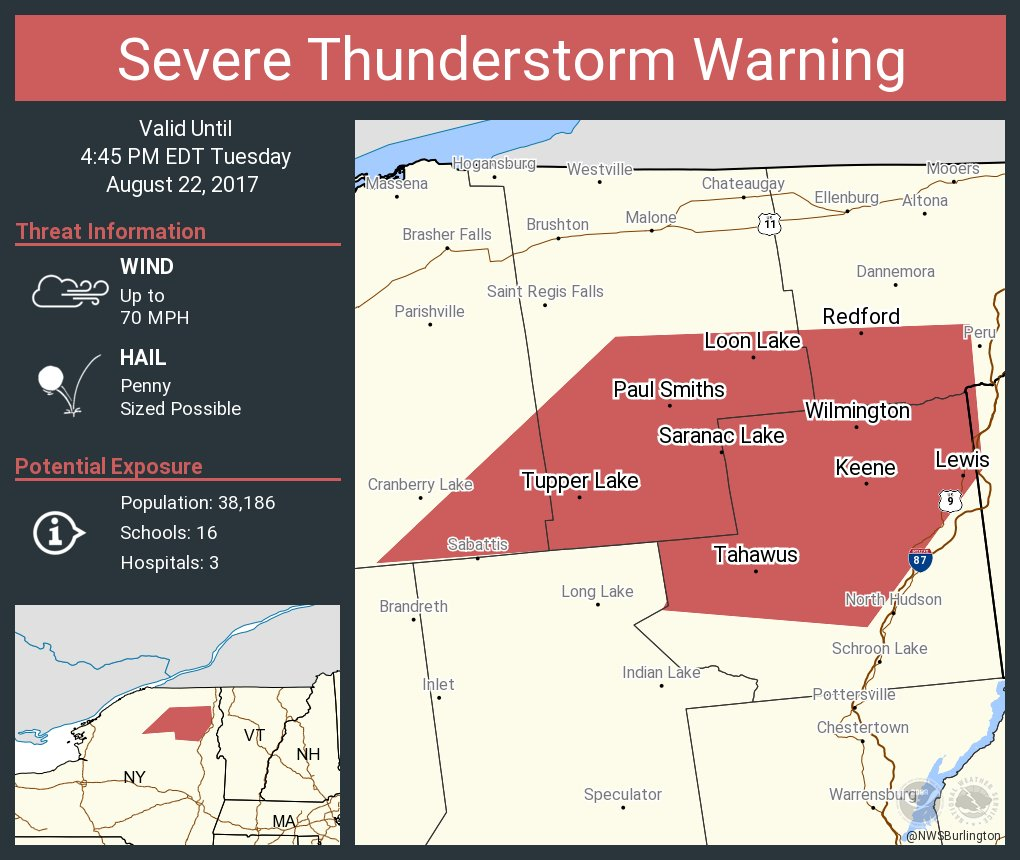 test Twitter Media - Severe Thunderstorm Warning continues for Saranac Lake NY, Tupper Lake NY, Lake Placid NY until 4:45 PM EDT https://t.co/L1QQOIYO2t