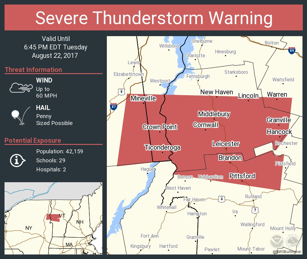 test Twitter Media - Severe Thunderstorm Warning including Middlebury VT, Ticonderoga NY, Brandon VT until 6:45 PM EDT https://t.co/TRld5OaaSA