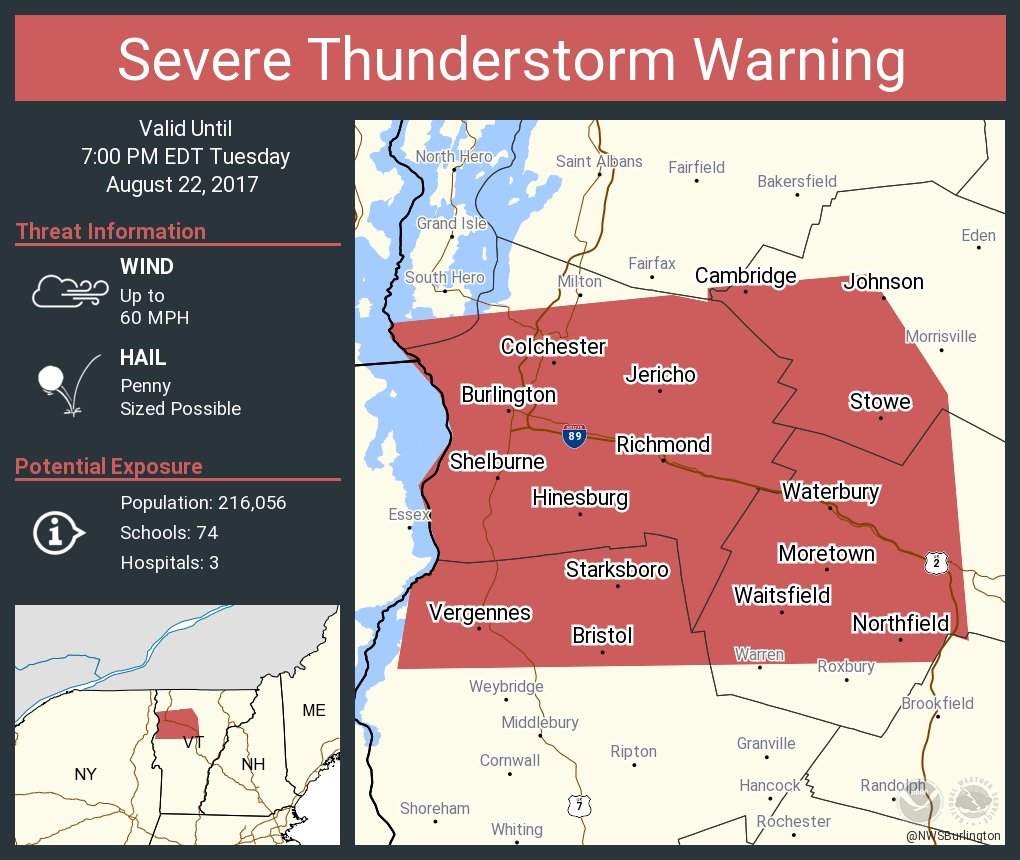 test Twitter Media - Severe Thunderstorm Warning including Burlington VT, South Burlington VT, Essex Junction VT until 7:00 PM EDT https://t.co/P7rr3rD53C