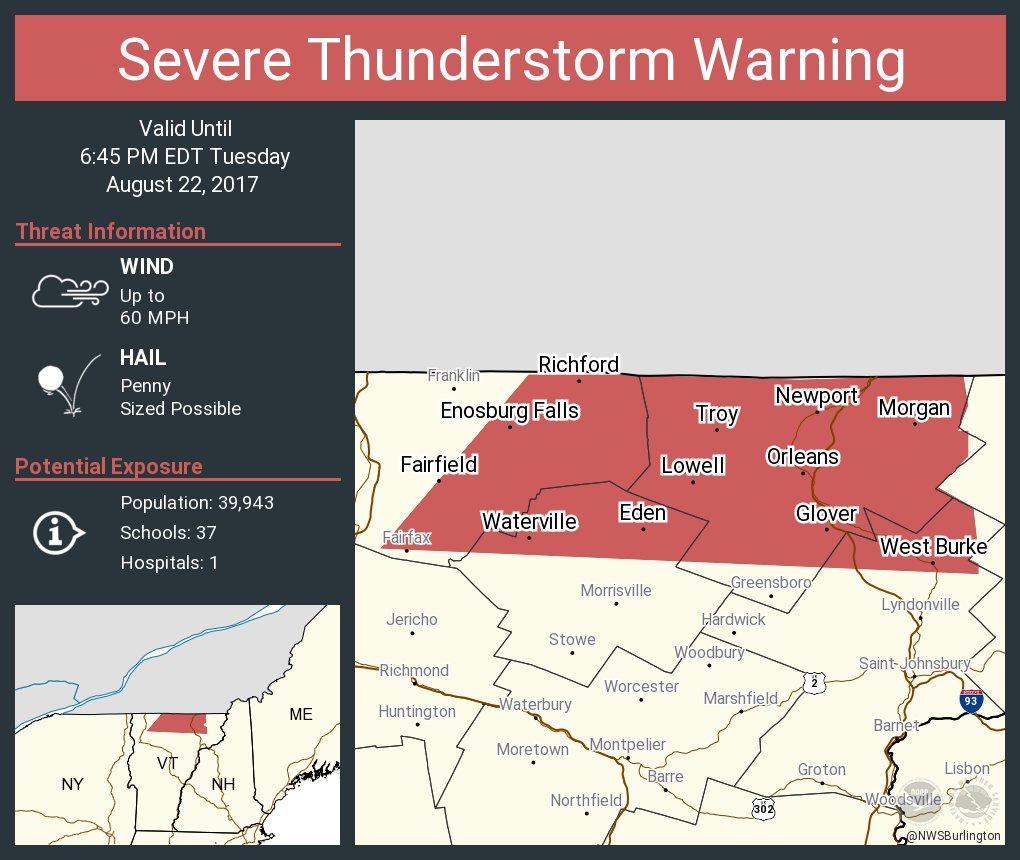 test Twitter Media - Severe Thunderstorm Warning continues for Newport VT, Richford VT, Enosburg Falls VT until 6:45 PM EDT https://t.co/iZo8bebjsJ