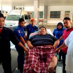 Overweight man had to be ferried with truck to hospital after falling sick