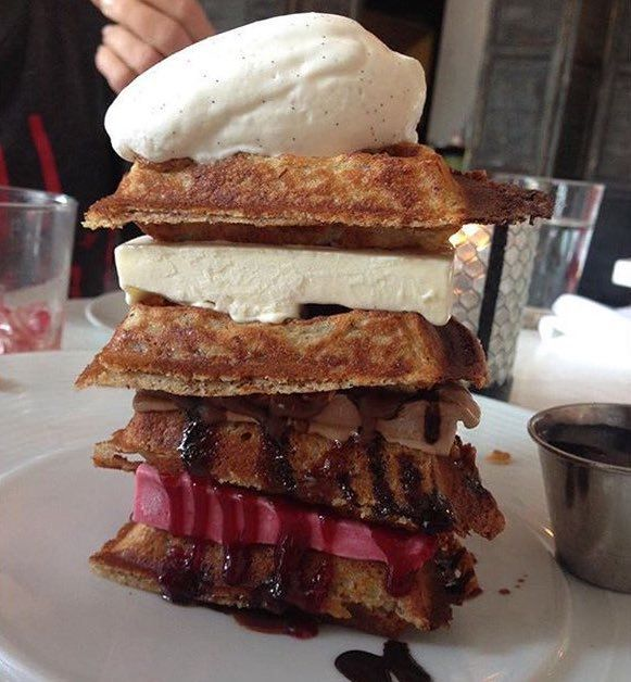 Waffle Ice Cream Sandwich Stacks. https://t.co/g4OusIpeET