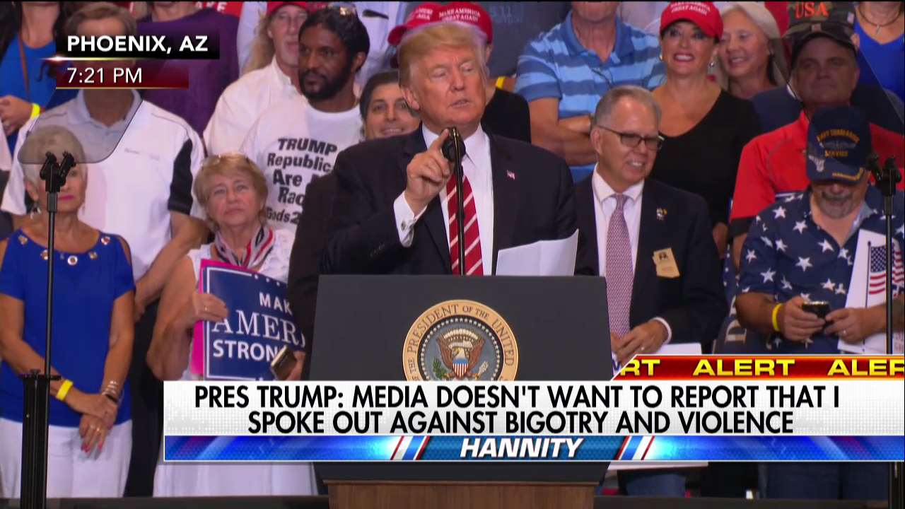 .@POTUS: Media doesn't want to report that I spoke out against bigotry and violence. https://t.co/KQ8352N5d6 https://t.co/Q7iphFiDWA