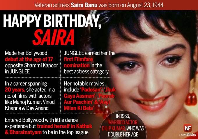 Wishing Saira Banu Happy Birthday. Wishing her all happiness and good health.