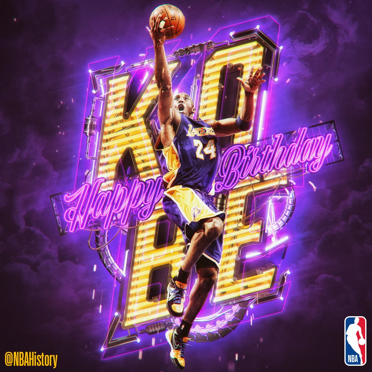 Happy 39th Birthday to 5x champ & @Lakers legend, @kobebryant! #NBABDAY https://t.co/5tiB9yNGcu