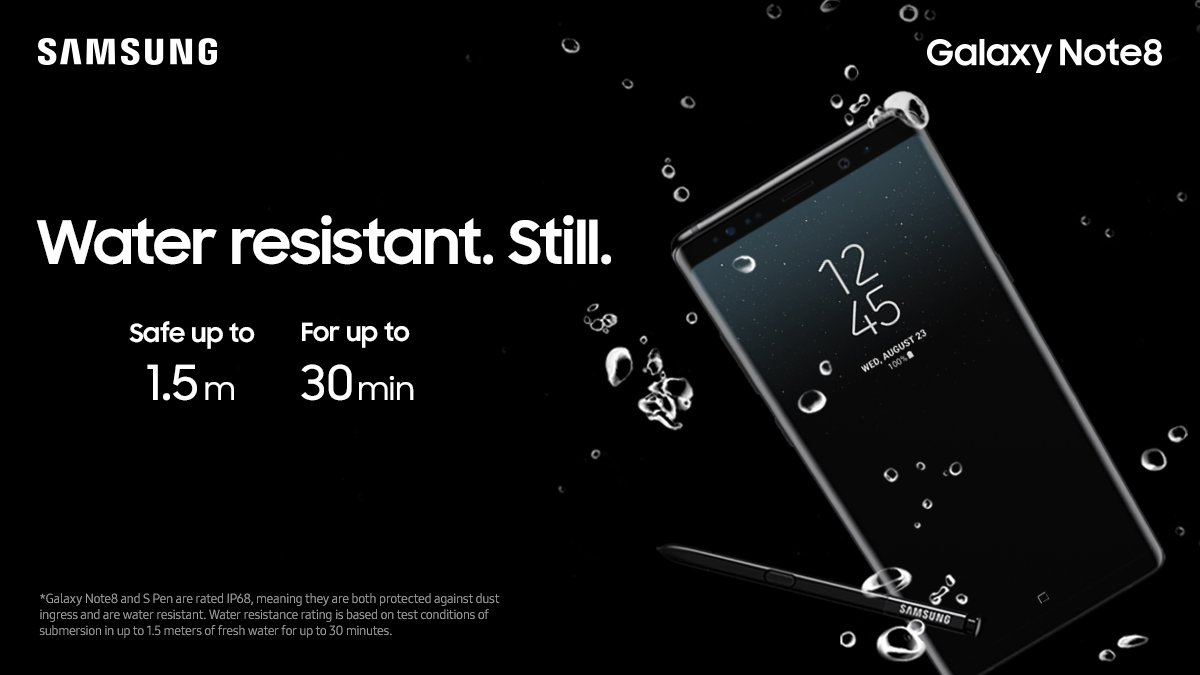 Get the peace of mind that comes with a water-resistant #GalaxyNote8--and S Pen. https://t.co/a0J1nEqrZ9 https://t.co/VF6vSiOthm