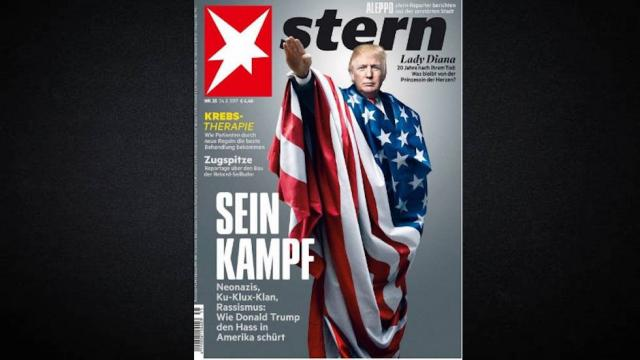 German magazine cover shows Trump doing Nazi salute, which is illegal in Germany https://t.co/Keiw3HozDi https://t.co/zrhmqJ7tLe