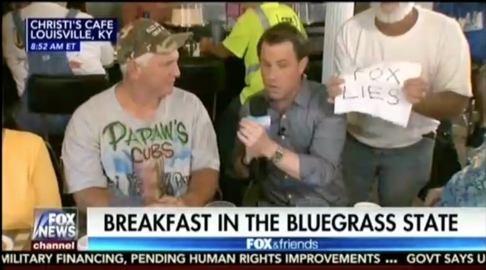 WATCH: Fox News forced to end live segment after man holds up 'Fox Lies' sign https://t.co/Csl0tfBCpe https://t.co/N4e6CC1Qml