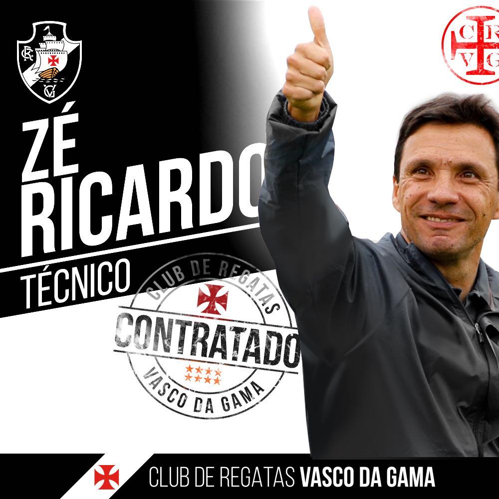 Zé Ricardo é o novo técnico do Vasco da Gama! Bem-vindo ao Gigante da Colina! https://t.co/HGw4FoSQP4 https://t.co/ybjRdOZ4hn
