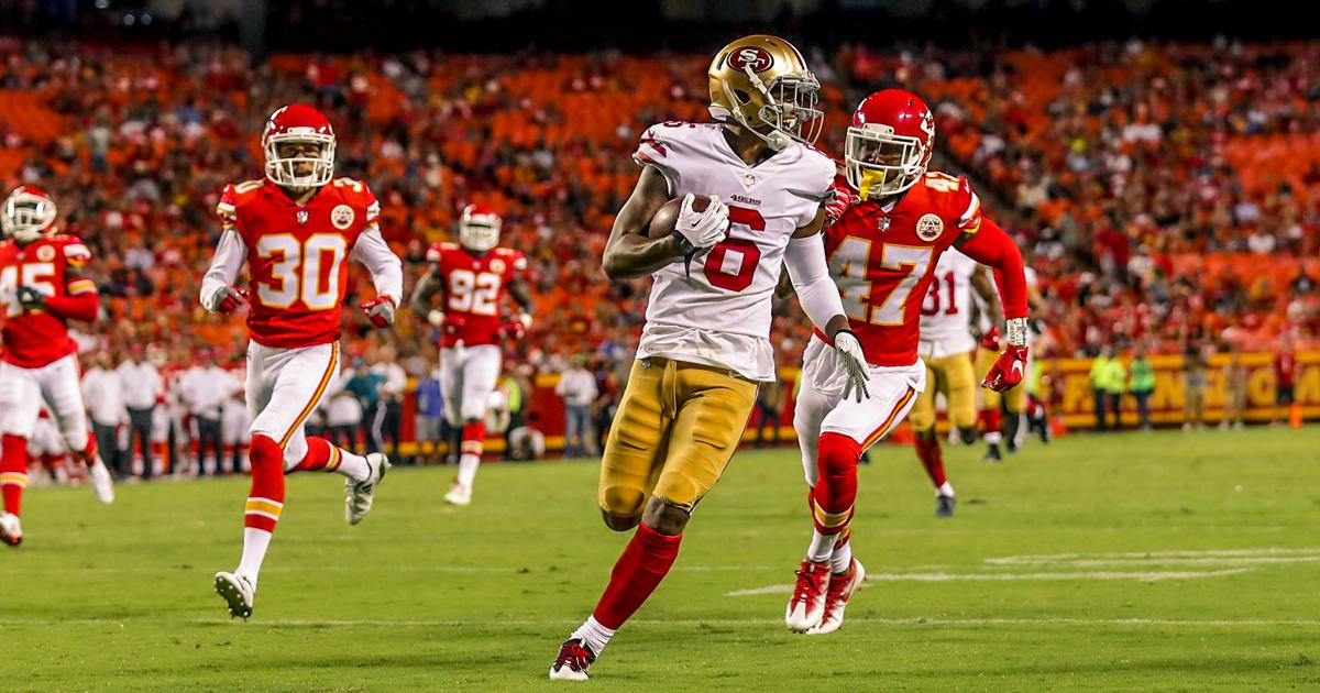 Watch it again as @BournePoly11 goes 46 yards for the touchdown.  �� https://t.co/iRybb4hu9m #SFvsKC https://t.co/V2QpkTW67N