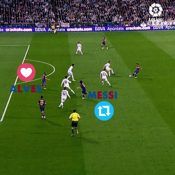 RT @LaLiga: ¡Ponte en el lugar de Xavi y decide a quién pasar! 😏  🔁 Messi ❤️ Alves https://t.co/hNkyDqCCaz