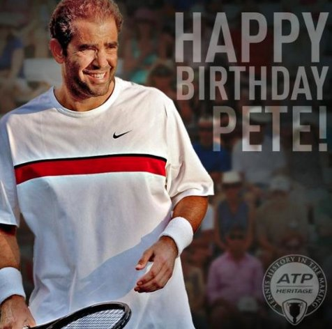 "Happy birthday big \""Pistol\"" Pete Sampras!"