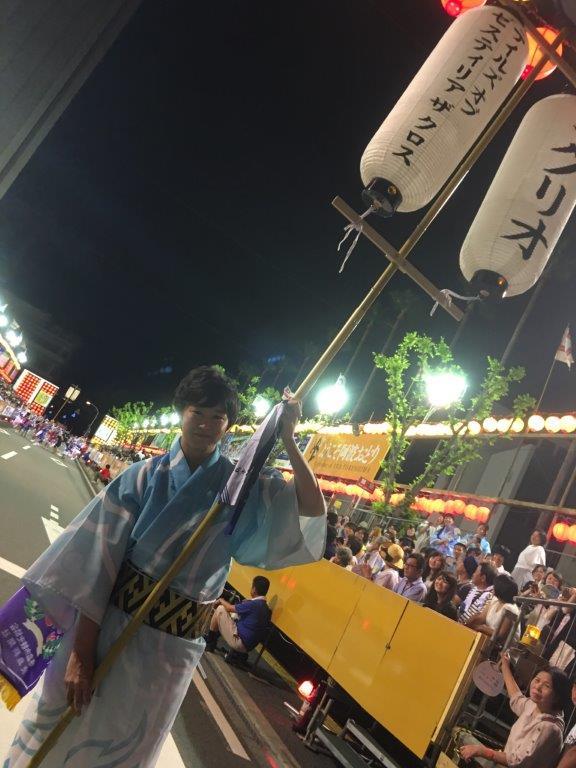 阿波おどり初日完了③賞まで頂きました。明日からこの提灯とサインの入ったうちわをufotable CINEMAに飾らせても