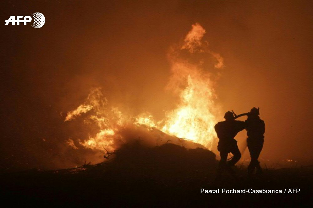 Huge wildfires rage in Portugal and on Corsica