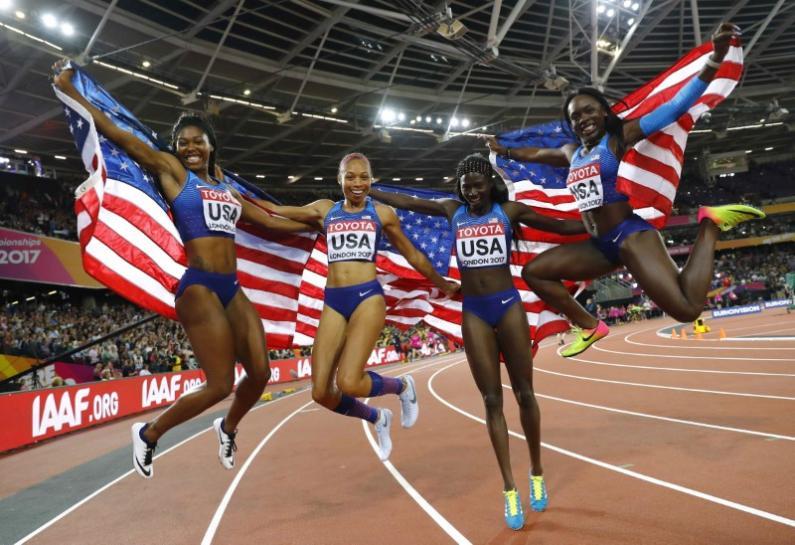 U.S. reclaim 4x100m world title, Britain take silver https://t.co/AVUyKbkwM4 https://t.co/VzrVfGbuGY