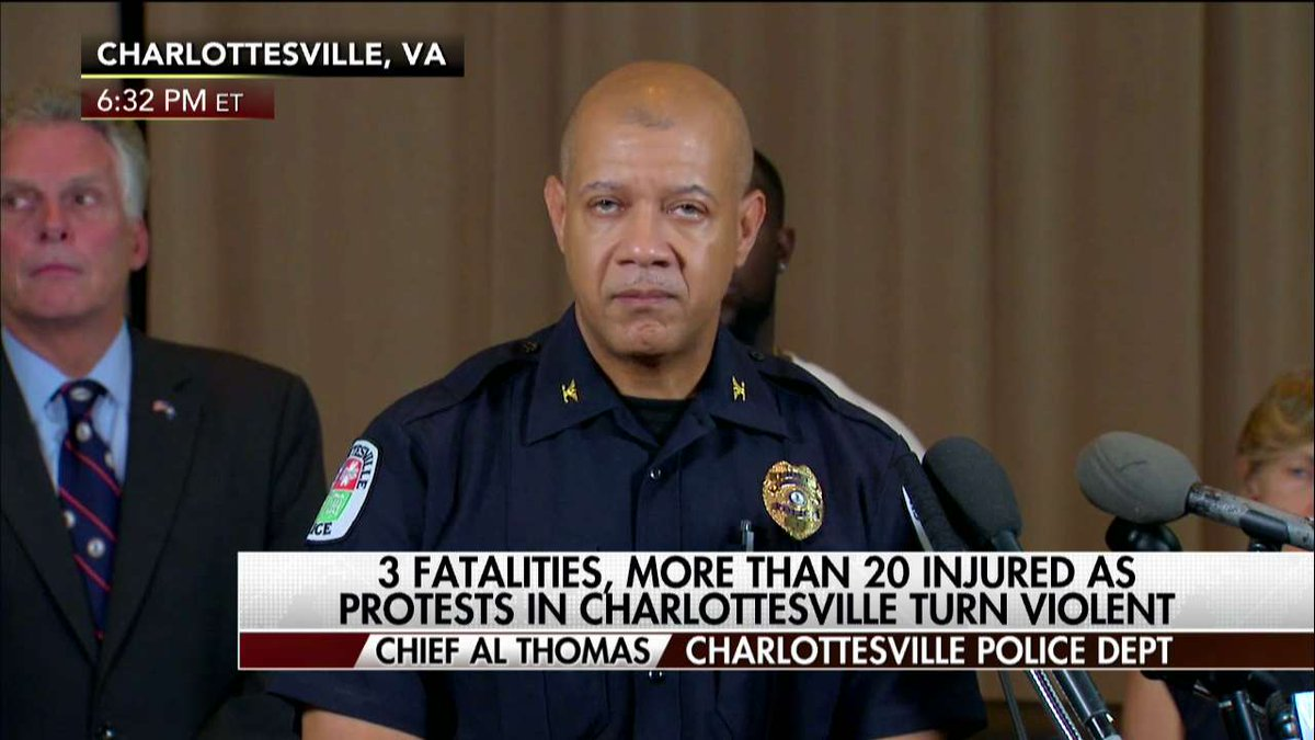 "Chief Al Thomas ""What the world saw today is not the place that #Charlottesville is. We love our city."""