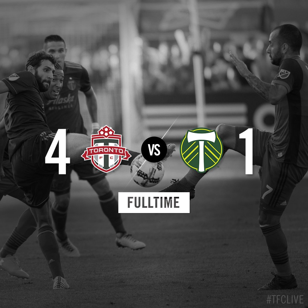 FT: A second half to remember as we rack up four goals to pick up another W at @BMOField!  #TFCLive | #TORvPOR https://t.co/8EnHoHYvIP