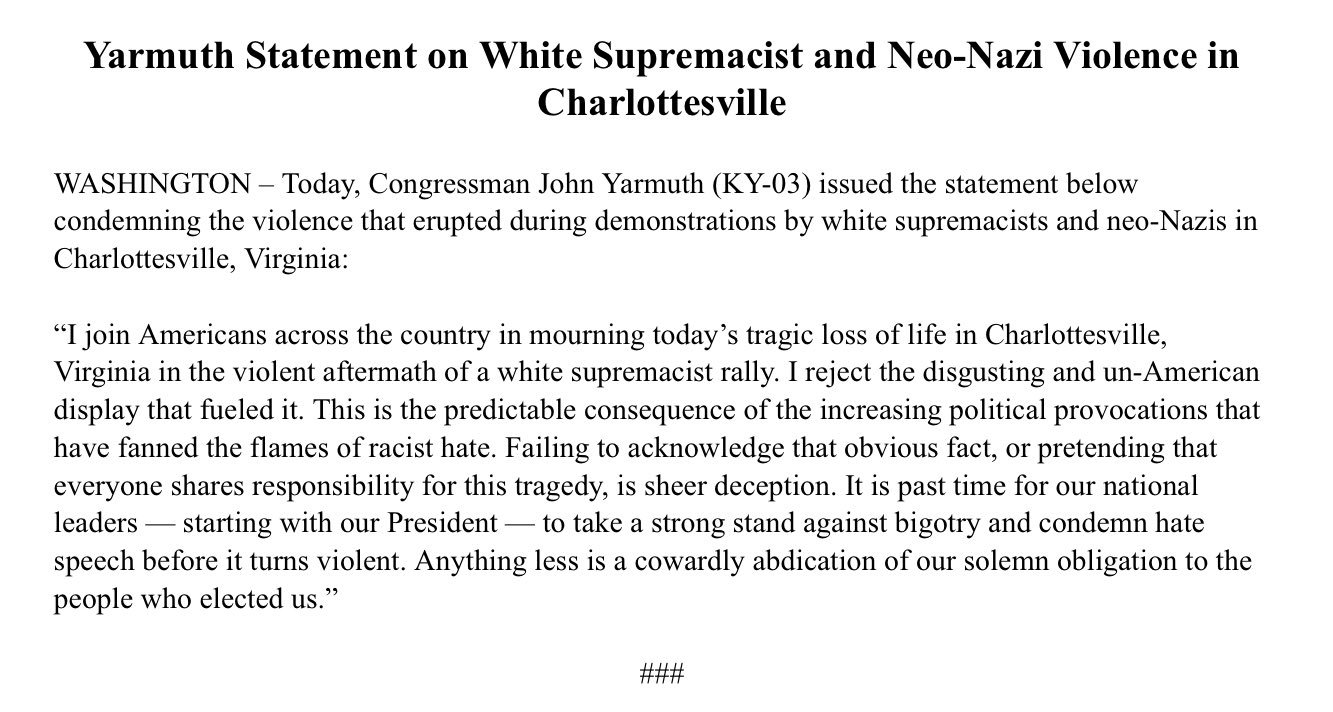 My statement on today's events in Charlottesville: https://t.co/7oWXhzHtTZ