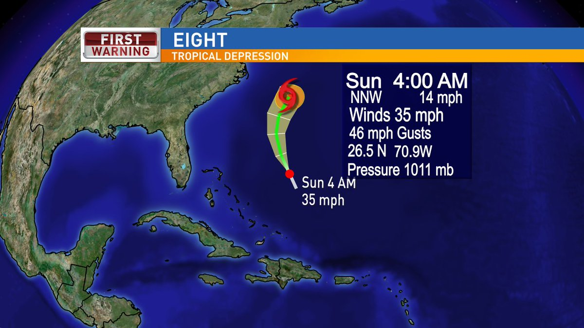 TD #EIGHT expected to take tropical storm status today. If it does..it will be named #Gert. No threat to US @weartv https://t.co/IIHhgEMDIi