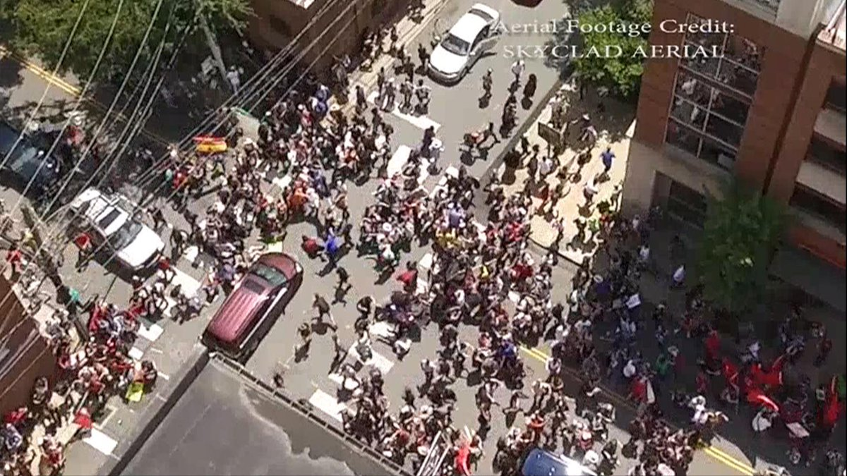 Drone captures horrific moment car plows into crowd in Charlottesville