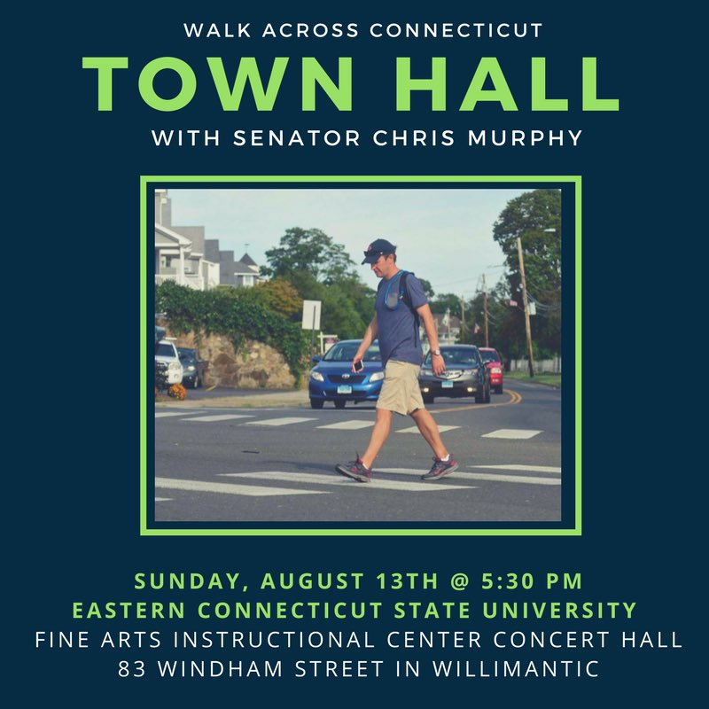 My first town hall of #WalkCT is tonight in Willimantic at @EasternCTStateU. Hope to see you there! https://t.co/bGTjVY7nyt