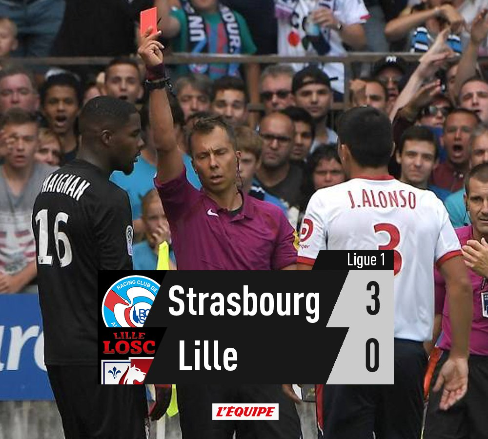 Strasbourg bat des Lillois privés de gardien après l'heure de jeu