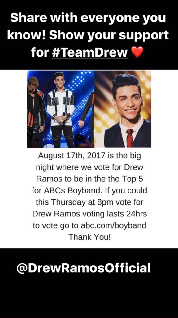#TeamDrew please vote for drew I love you so freaking much @DrewRamosNYC vote for drew everybody goooo!!! ❤❤❤ https://t.co/45JFkRiK82