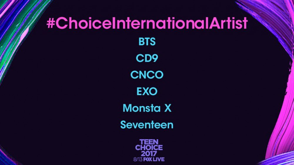 BTS, EXO, Seventeen, and MONSTA X nominated for 2017 #TeenChoice Awards https://t.co/GREt2kTg8o https://t.co/jUlECJ0Ko0