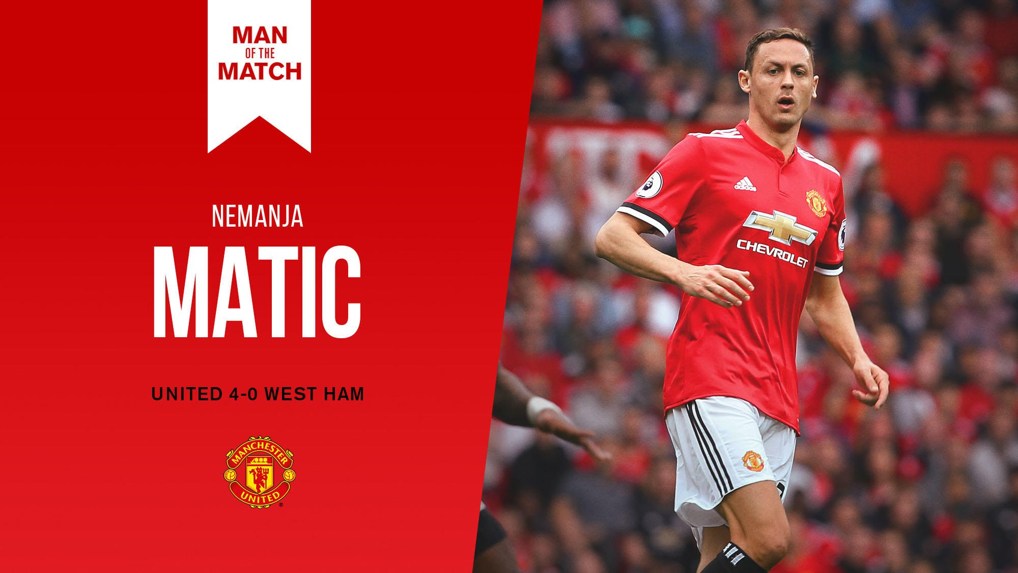 A dominant midfield display on his @PremierLeague debut for #MUFC - Nemanja Matic is today's Man of the Match! �� https://t.co/FadY1riur5