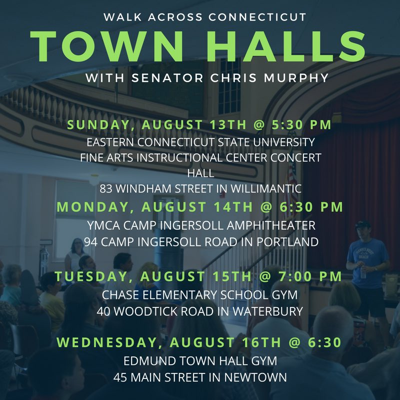 Want to join me for a #WalkCT town hall? Here's where I'll be this week https://t.co/fzR7GasNJY
