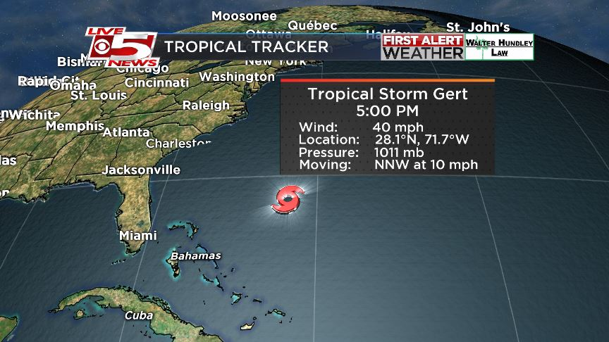 Tropical Storm Gert forms north of Bahamas, likely to stay east of Carolinas