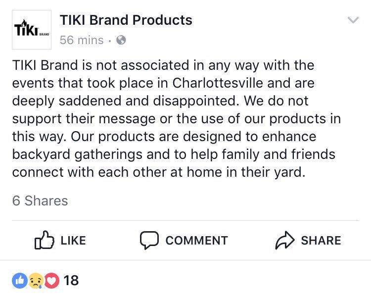 Tiki torch company outdoes @POTUS on #Charlottesville.