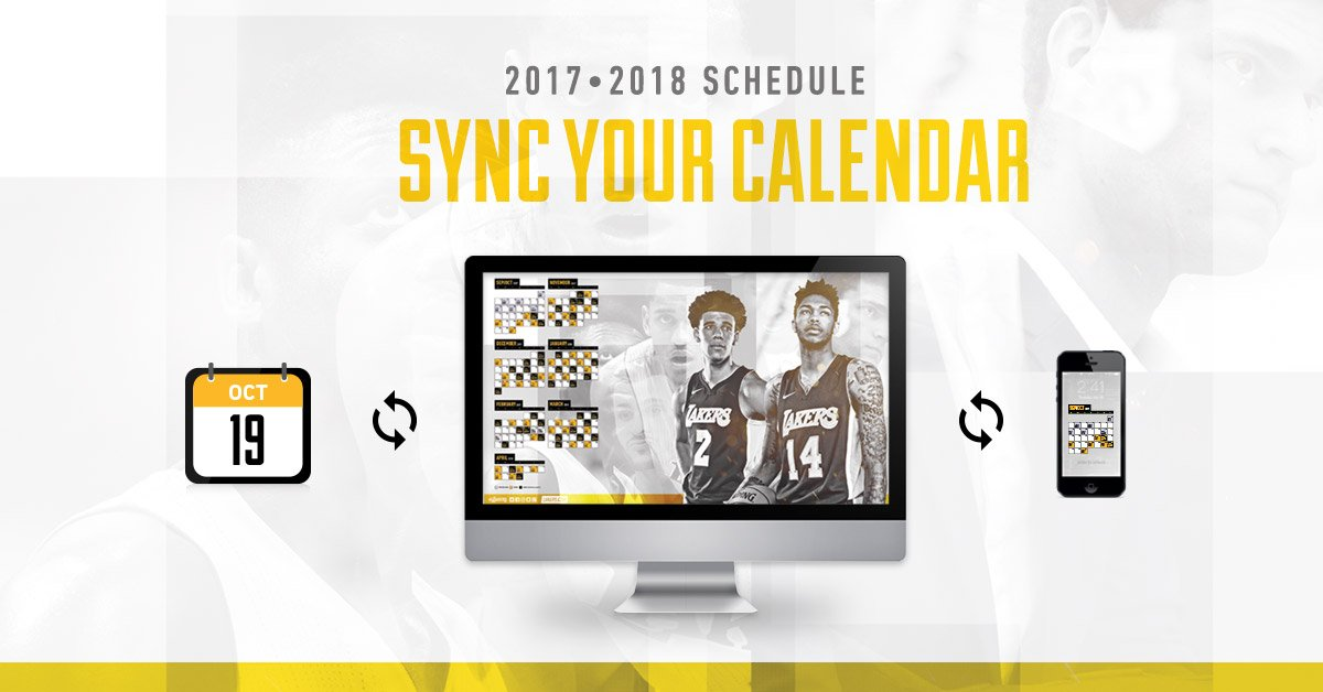 Don't miss a game—import the 2017-18 Lakers schedule into your calendar: https://t.co/B9pceuCHmF https://t.co/k88NvXoepV