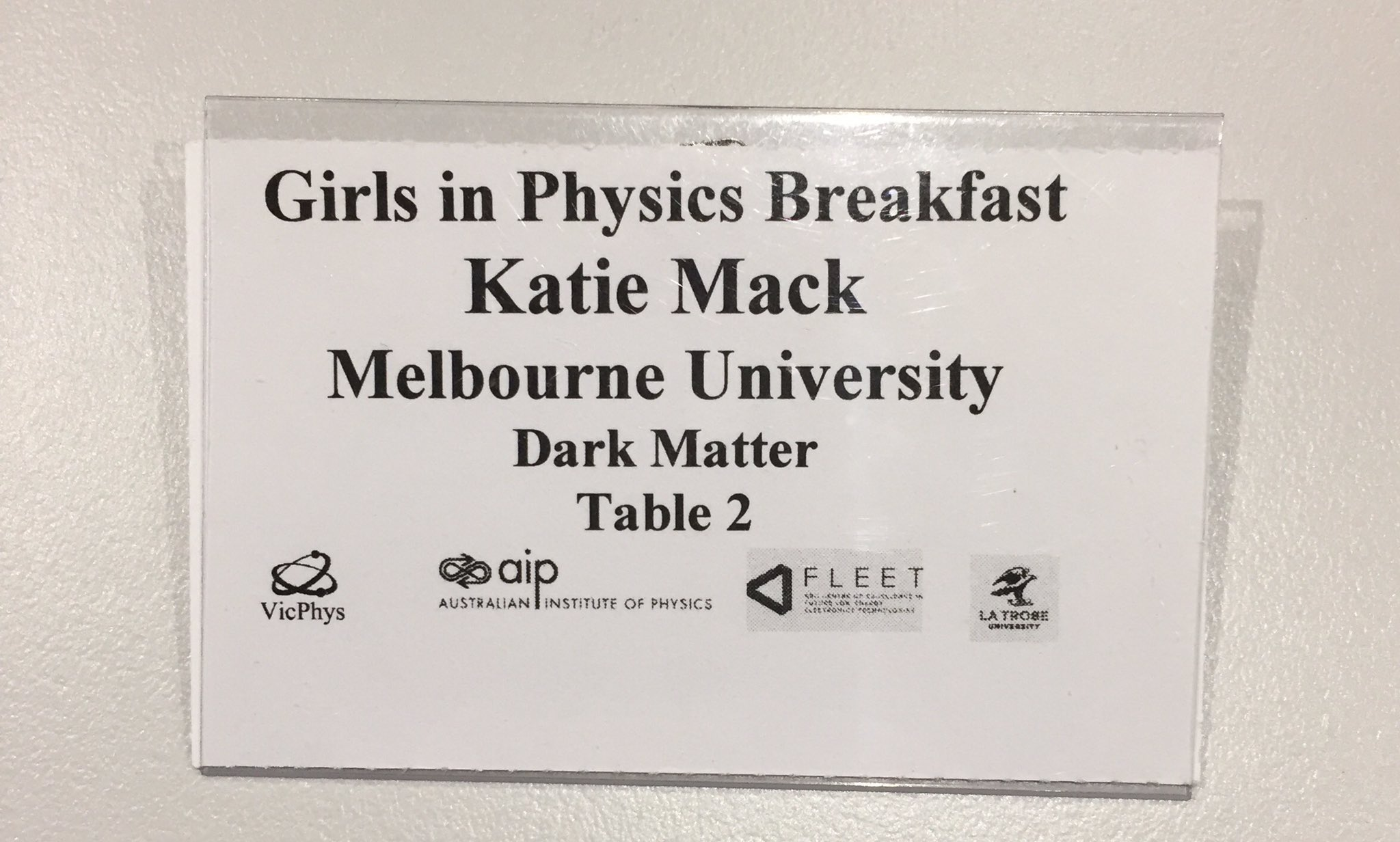 Hello my name is Katie, I belong to Melbourne University and dark matter. #WiPTour https://t.co/ocO33VEvVk