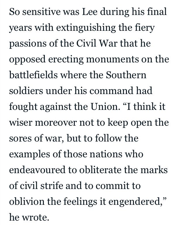 Fwiw Confederate Gen. Robert E Lee making the case against Confederate monuments... https://t.co/zhSvmyxJ16
