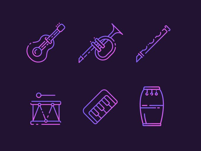 Musical Instruments   Icons by soorajexplorer freebie