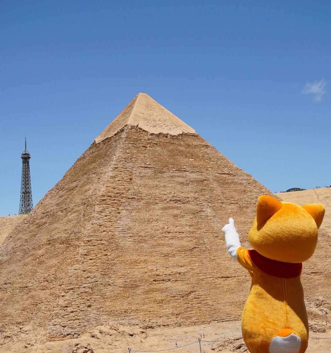 ピラミッドだにゃー!おおきいにゃん♪うにゃ? みんにゃ「エッフェル塔」がみえるって にゃ?エジプトと フランスはちかかっ