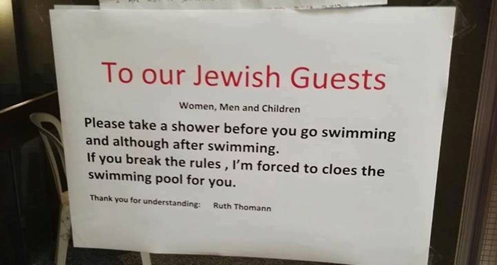 Outrage as Swiss hotel orders 'Jewish guests' to shower before swimming
