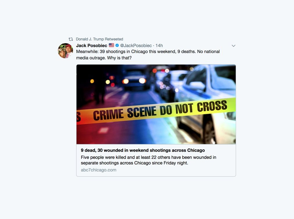 Trump retweets alt-right conspiracy theorist on Chicago homicides in wake of Charlottesville criticism