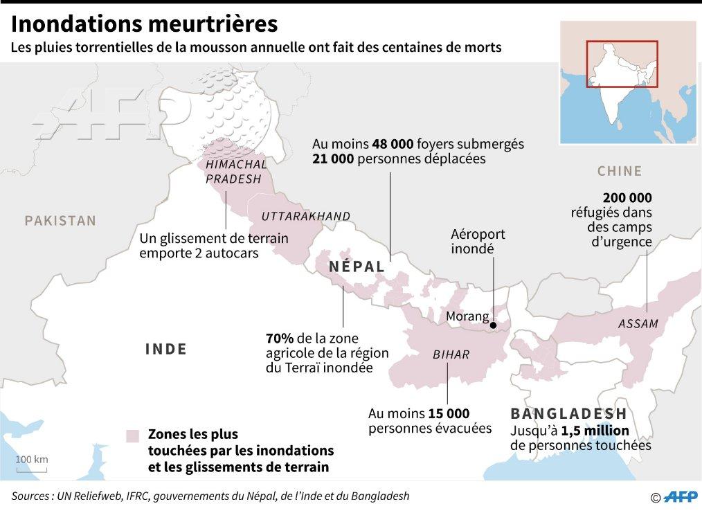 Inondations en Inde, Népal et Bangladesh: au moins 221 morts