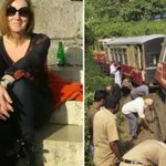 Brit mum-of-two, 55, on India holiday killed in horror crash where she was catapulted through a train's window as it derailed 'because it was going to fast'