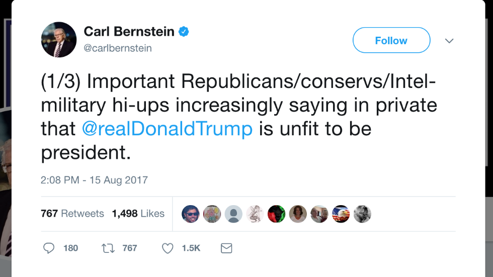 Carl Bernstein: Republicans privately saying Trump is unfit to be president https://t.co/zkc15ZciLO https://t.co/JNX1EL9e2o