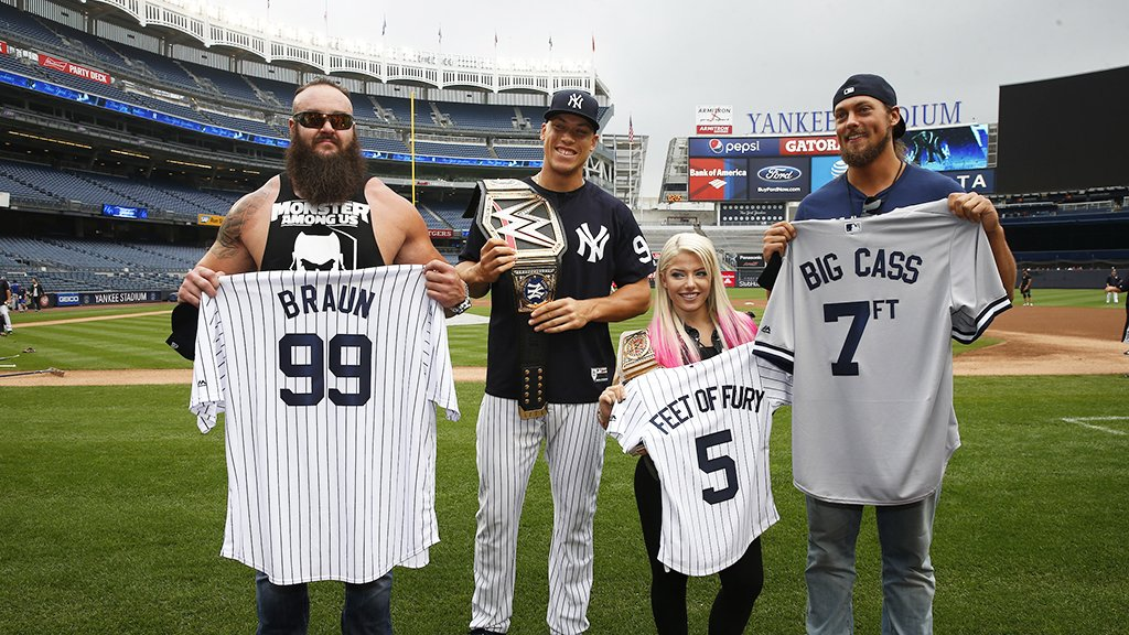 Champions deserve championship belts. WWE stars stopped by to award Aaron his belt for the HR Derby. �� https://t.co/45CKoLvLAl