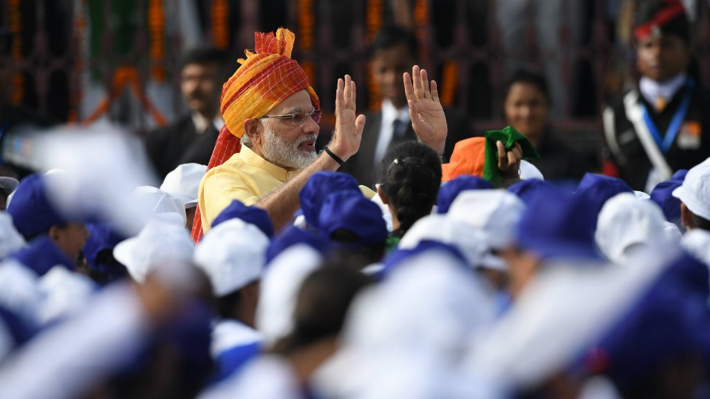 Modi vows to build 'new India' on nation's 70th anniversary