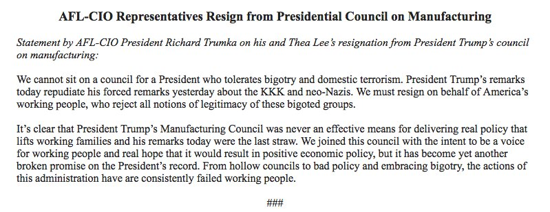 BREAKING @AFLCIO resigning from the manufacturing council