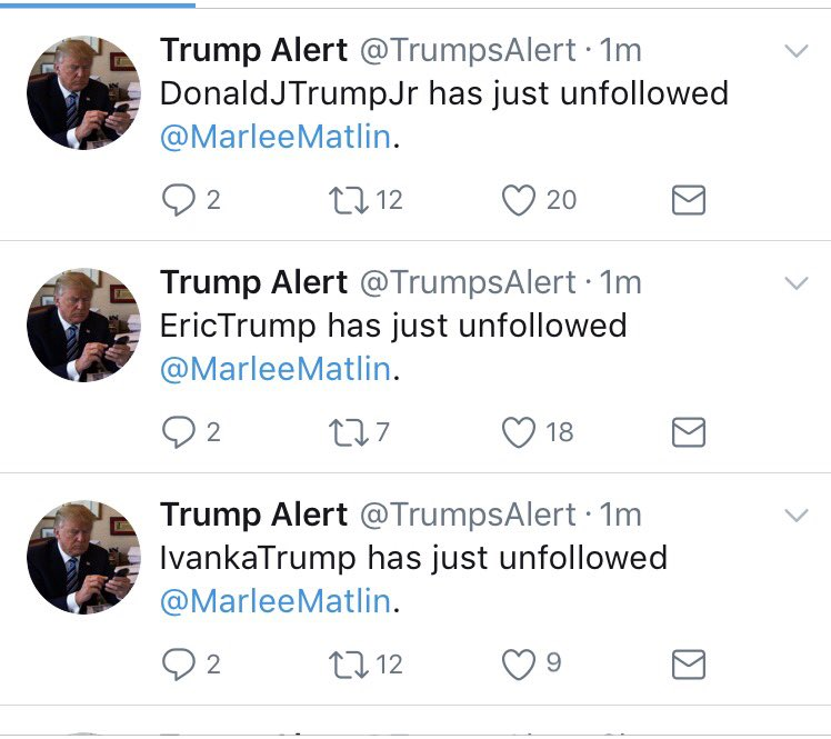 Looks like the most important thing on the Trump kids' mind's right now is.... being pissed off at @MarleeMatlin ? https://t.co/19rJGi9AKL