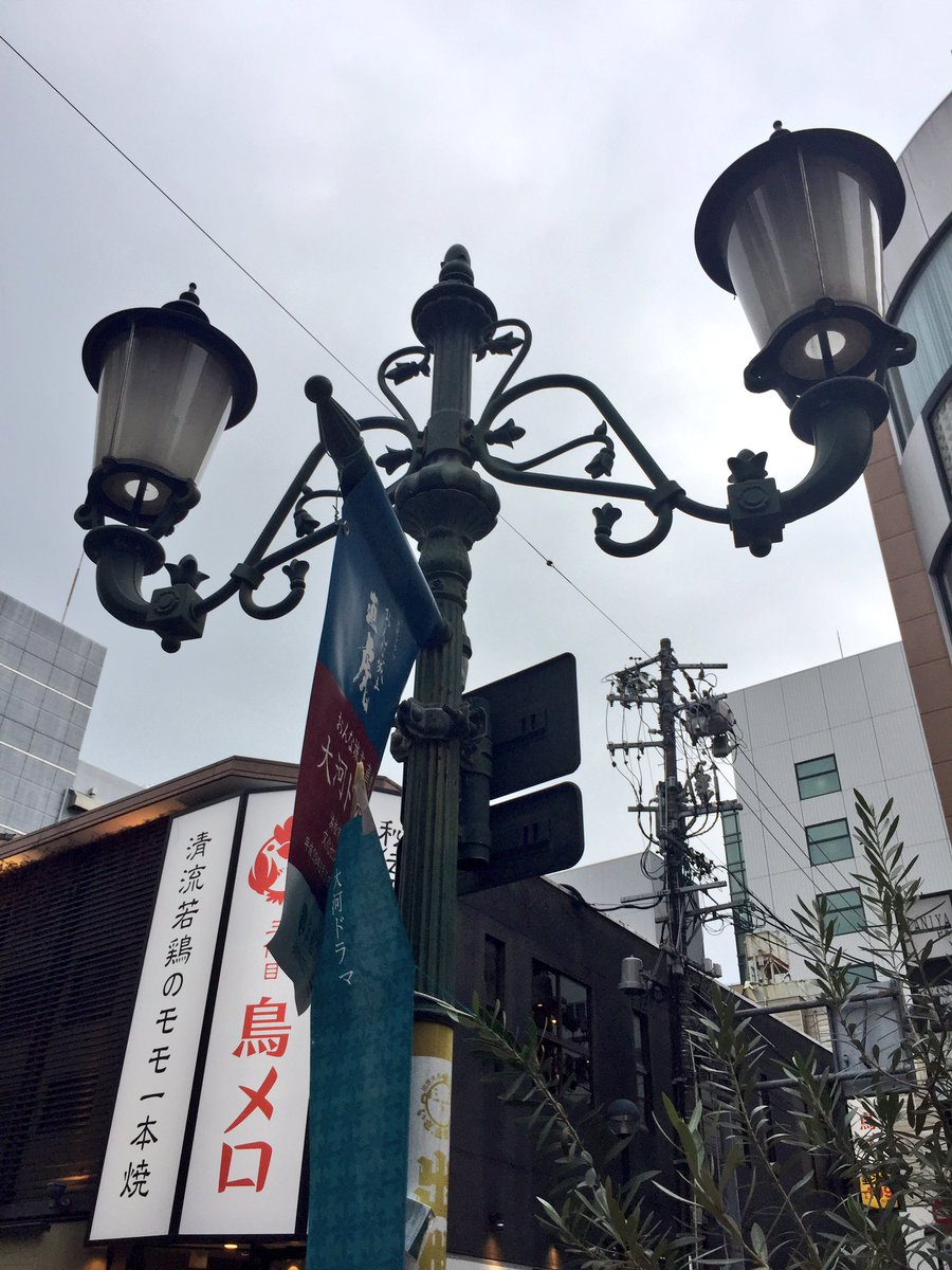 planetarian 聖地巡礼⑧ 2人は花菱デパートを出て、遊楽街を北上。遊楽街の街灯は基本二つランプだけど、中央付近
