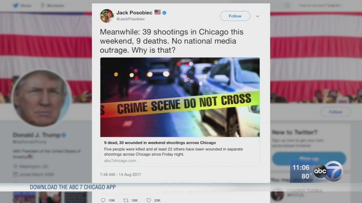 Trump retweets conspiracy theorist on Chicago weekend shootings